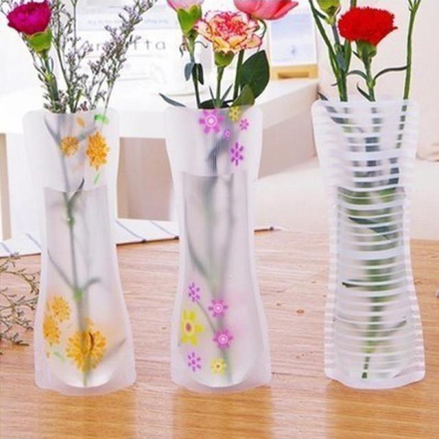 3Pcs Portable Eco-friendly Flower Cute Foldable Vase Wedding Office Home Decoration Random PVC Plastic Flower Vase 1