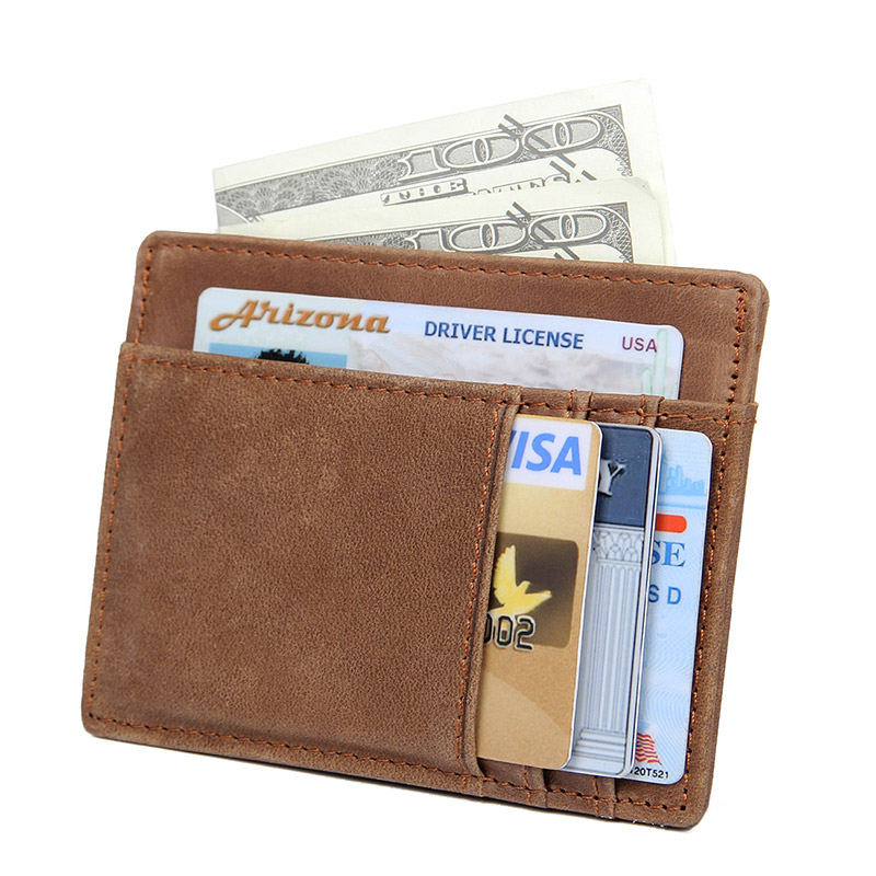 Card Holder Wallet Men Leather Business Card Pack Slim Women ID Credit Card Holder Multi Color Money Purse R 8102 in Card ID Holders from Luggage Bags