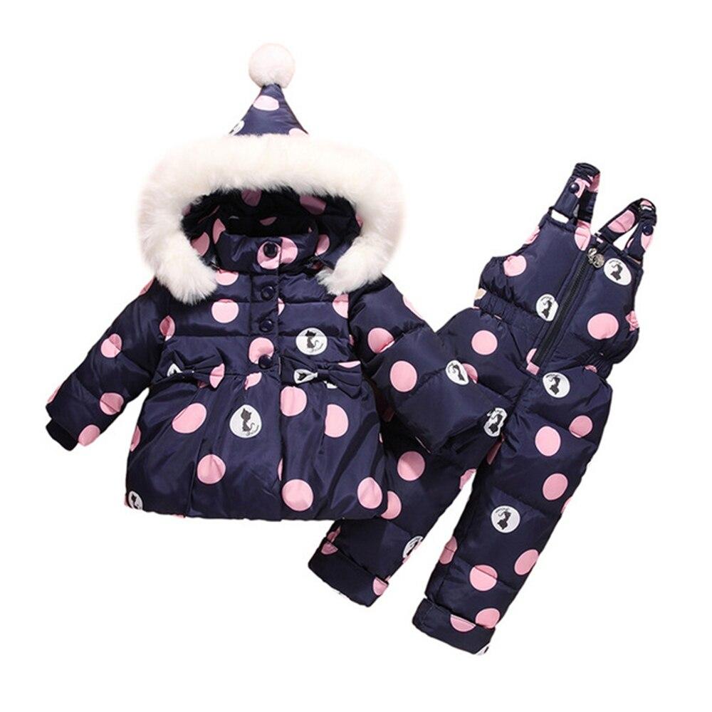 Thicken Baby Winter Overalls Coat Snowsuit Duck Down Winter Baby Suit Bowknot Polka Dot Hoodies Jacket Winter Baby Suit Clothes nz f 29 6 5x16 5x114 3 d67 1 et46 bkf