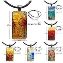 2c53c306dcaf9 Dla Unisex wisiorek ze szklanym kaboszonem naszyjnik prostokąt naszyjnik  moda Van Gogh grafiki urocza kolorowy rysunek powrotem