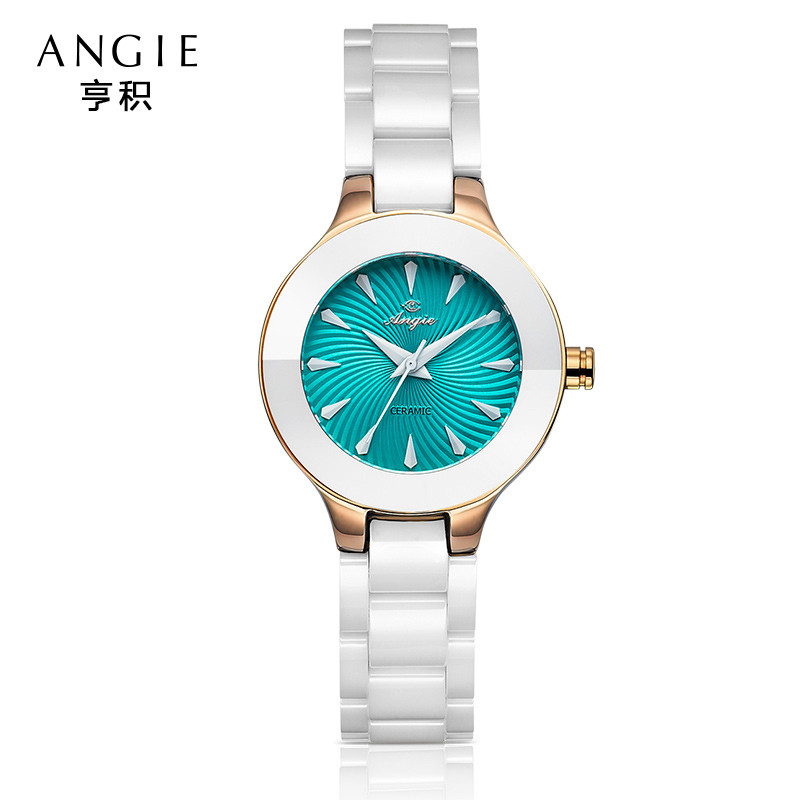ФОТО Angie Luxury Ceramic Water Resistant Sports Relojes Mujeres Quality Women Ceramic Quartz Watches Alibaba Christmas Gift B17