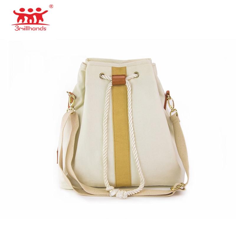 ФОТО Limited Edition 3Millhands 2017 women cross-body bag canvas shoulder bag designer handbags string tie bucket bag panelled