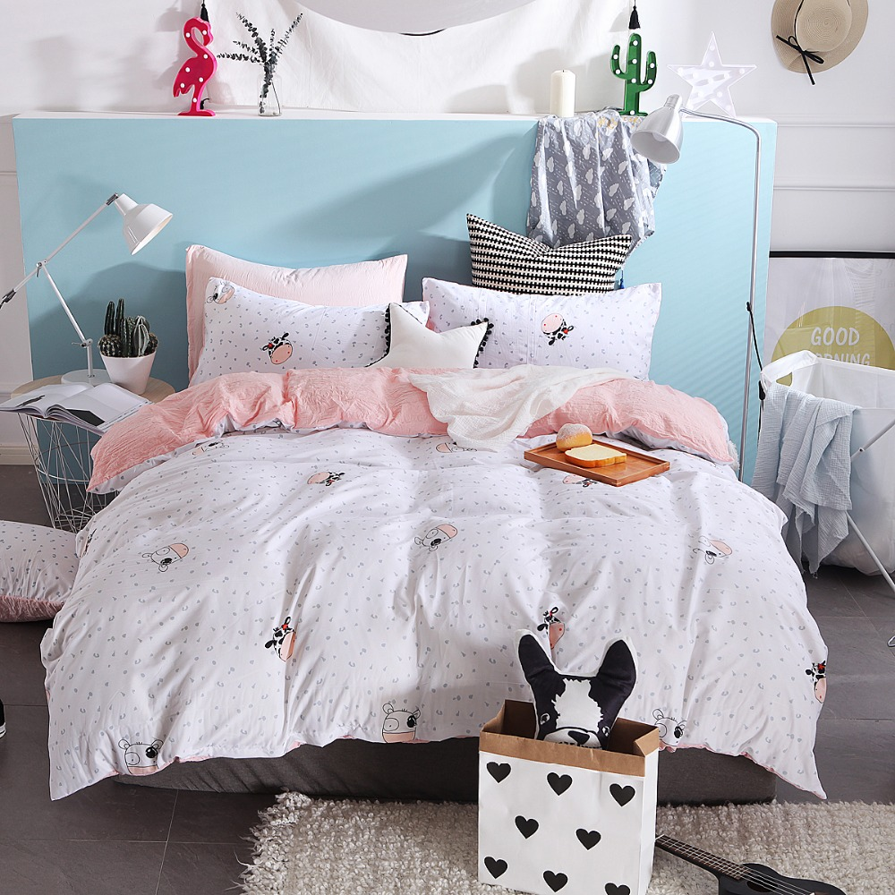 Simple Cartoon Cow Pattern 3/4pcs Bedding Sets/Bed Set/Bedclothes For Kids/Bed Linen Duvet Cover Bed Sheet Pillowcase,King Size