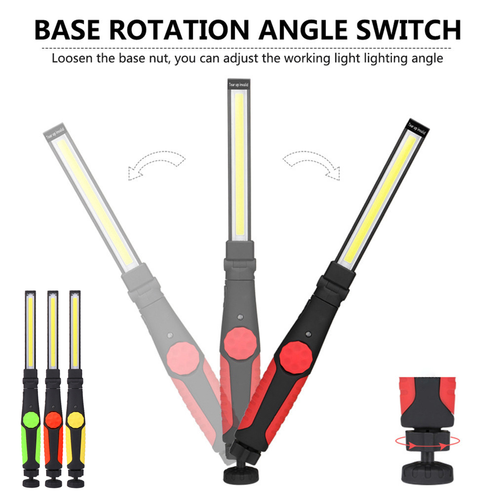 Adjustable rotating portable cob lantern flashlight USB rechargeable LED magnetic work light COB