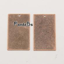 Metal Tags, Brass Blank Stamping Tag Pendants, Rectangle, Red Copper, 32x18x0.3mm, Hole: 1mm