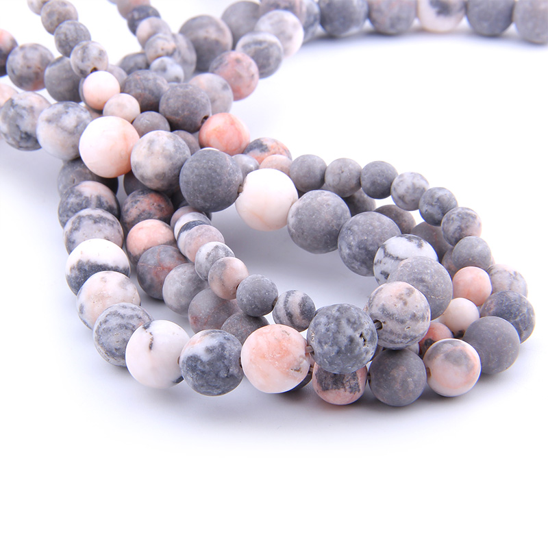 VINSWET Beads Pink Bracelet Necklace Natural-Stone Round Matte Zebra 10-12mm For Jewelry