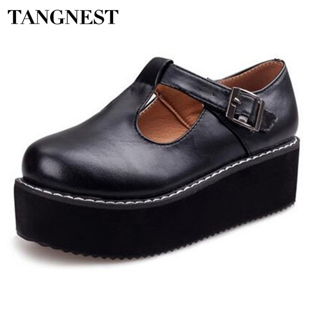 Tangnest Women Platform Shoes 2017 Casual Vintage Females Creepers Round Toe Thick Heel Buckle Strap Platform Flat Woman XWD1151