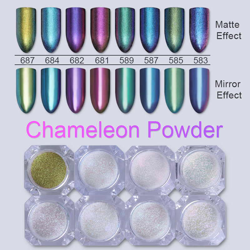 ᓂ8 Pcs Chameleon Glitter Powder Nail Glitter Powder Dust Chrome ...