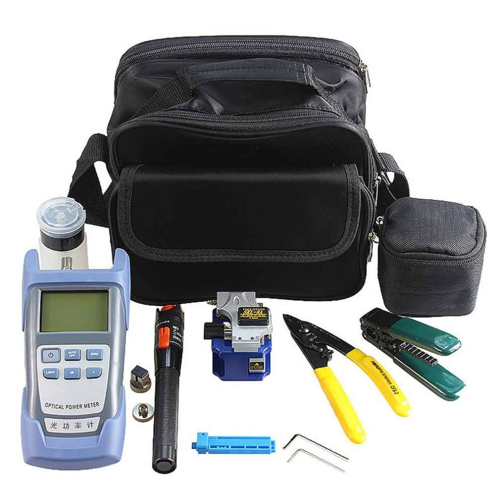 One Set Fiber Optic FTTH Tool Kit with SKL-8A Fiber Cleaver and Optical Power Meter 10Mw Visual Fault Locator Wire stripper outest dxp 50d fiber optical power meter 70 10dbm visual fault locator 10km fiber optical cable tester pen 10mw