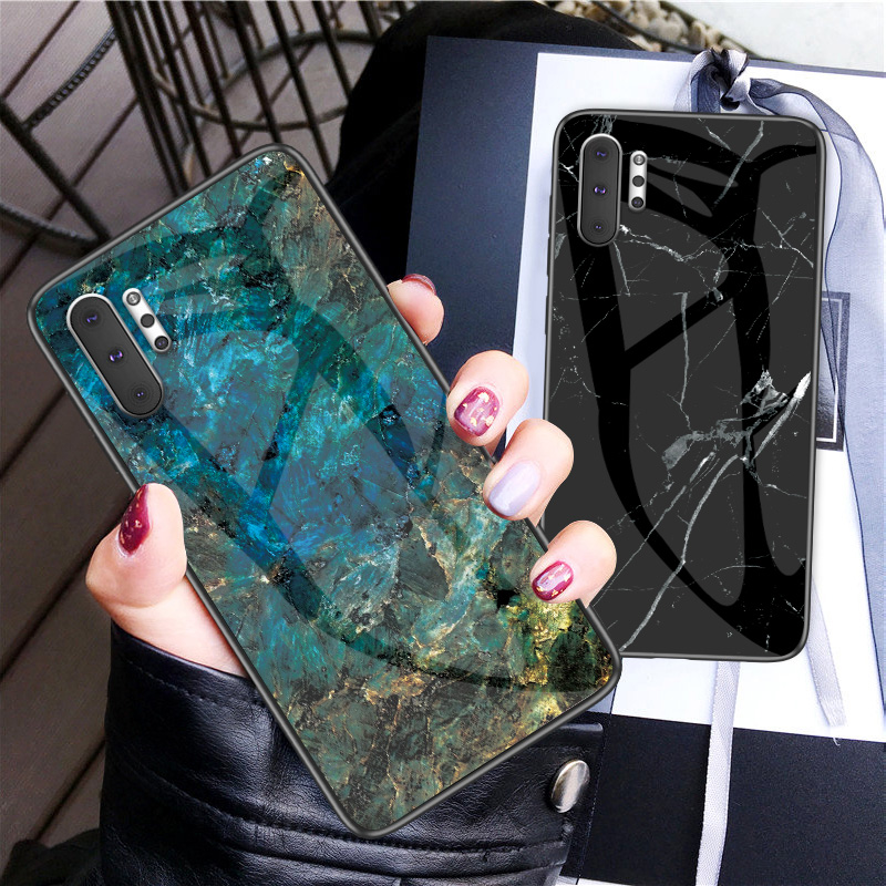 For <font><b>Samsung</b></font> <font><b>Galaxy</b></font> Note 10 Plus 8 9 Fashion Marble Tempered <font><b>Glass</b></font> Protective <font><b>Cover</b></font> For S7 EDGE <font><b>S8</b></font> S9 S10 S10E Soft Silicone <font><b>Case</b></font> image