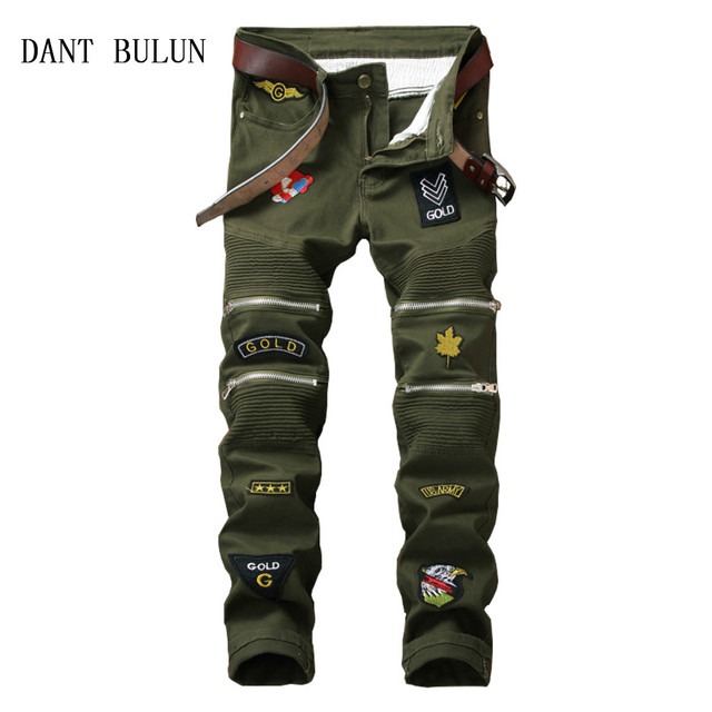 a39bdbbe4aa Men s Pleated Biker Jeans Camouflage Pants Slim Fit Motocycle Denim  Trousers For Male Straight Washed Multi Zipper Dropshipping