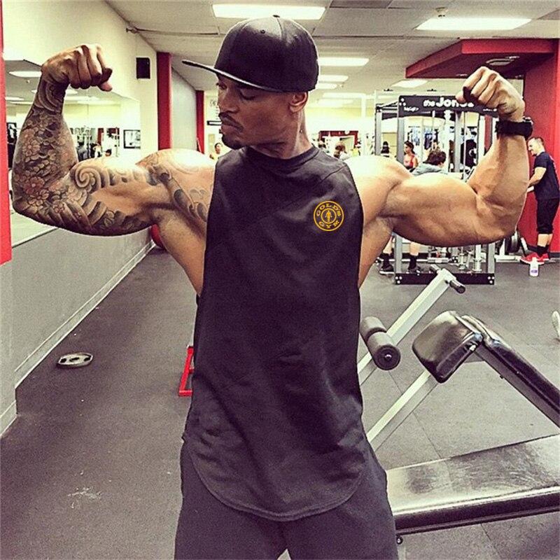 Muscle Guys Brand gyms clothing cotton golds vest bodybuilding stringer   tank     top   fitness singlet mens sleeveless shirt men