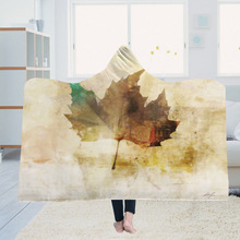Hooded Blanket Cloak Magic Hat Thick Double-layer Plush 3D Digital Printing Autumn leaves Series