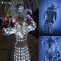 LED Magic Suit, Glow Performance Costumes, Luminous Magic Props, Nightclub Bar Party Supplies Ballroom Dance Dress