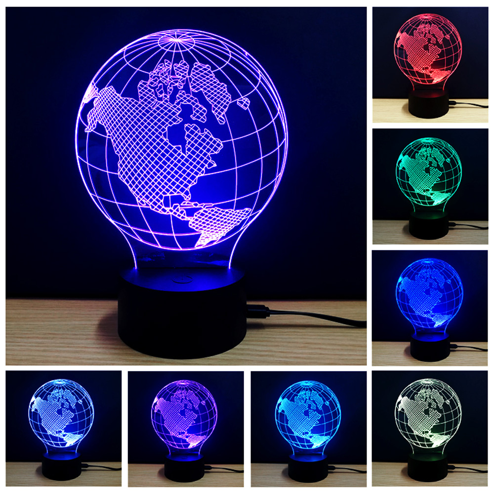 New Arrival Creative Design Energy Saving Rechargeable 3D Colorful Earth Model LED Table Lamp Night Light or Room Decoration автоинструменты new design autocom cdp 2014 2 3in1 led ds150