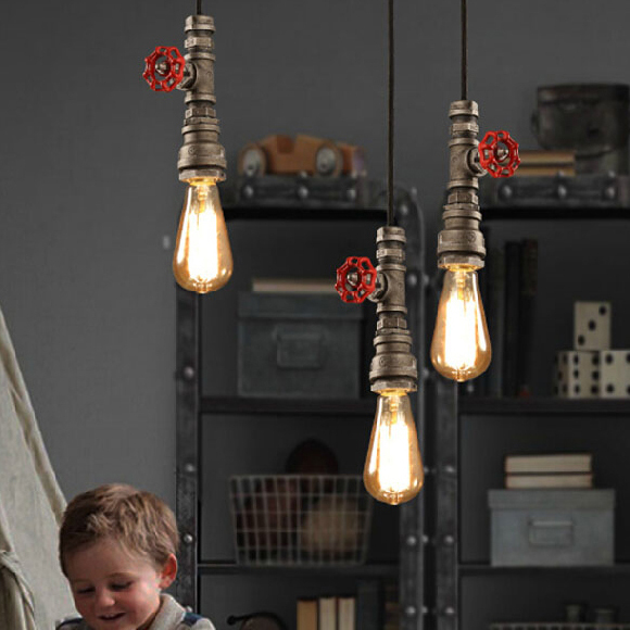 Фото Vintage Industrial Water Pipe Single Droplight American Retro Waterpipe Pendant Lights Fixture Cafes Pub Coffee Shop Foyer Lamps