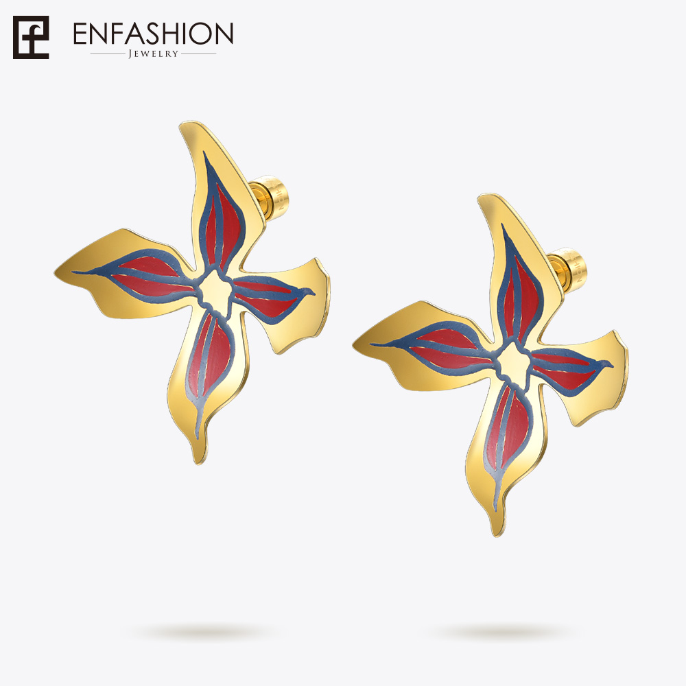 Enfashion Lacquer Art Series Full Bloom Flower Earrings Geometric Stud Earrings Classic Earrings for women EBQ18LA57 pair of stylish rhinestone triangle stud earrings for women