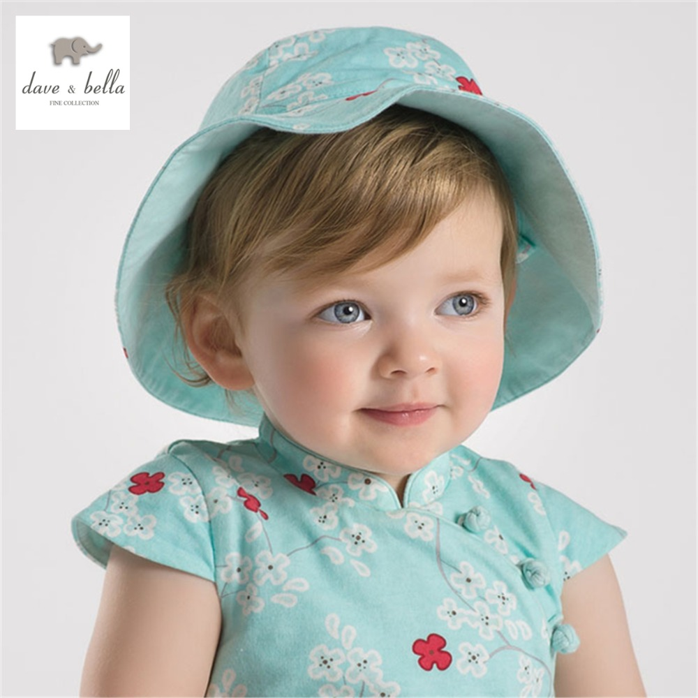 DB1973 dave bella summer baby girls floral beach hats infant caps toddle hat baby sunhat  girls cute caps