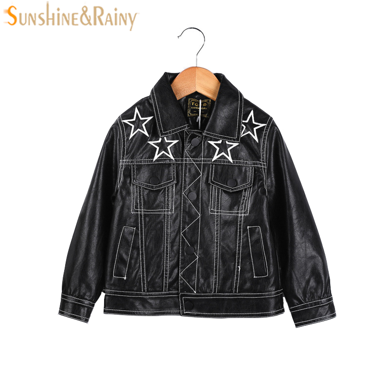 Leather Jacket For Boy Baby Girls PU Leather Jackets Star Embroidery Children Outerwear Coat Spring Jacket For Girls Clothing