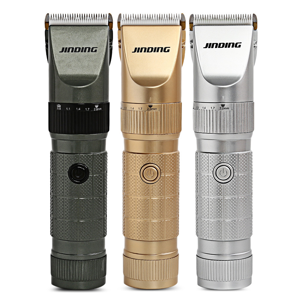 JINDING Professional Electric Rechargeable Hair Clipper Trimmers Ceramic Hair Cutting Machine Haircut Set 4 Pcs Combs For MEN