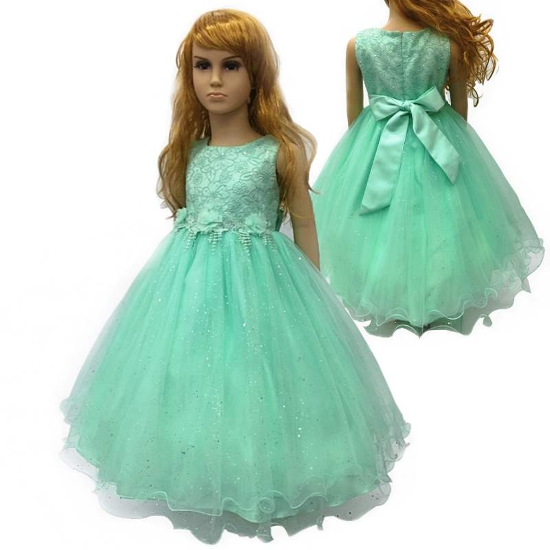 Cotton Lining 4T-12T Girl Party Dress 2017 New Arrival Mint Green Flower Girl Dresses For Weddings kids evening Gown With Bustle 2017 new arrival 4t 8t girl party dress organza cotton lining kids pageant ball gown turquoise flower girl dresses for weddings