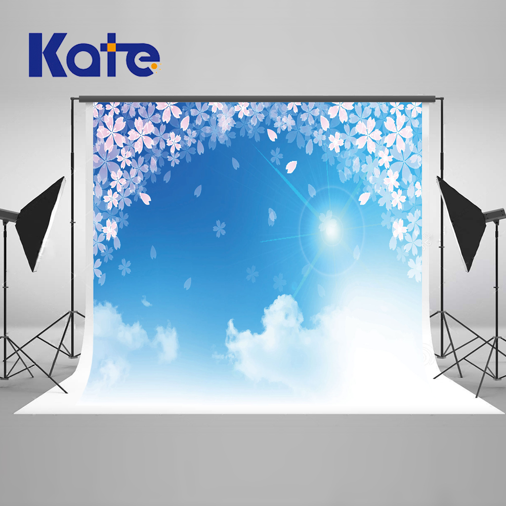 ФОТО Kate Blue Sky Photography Backdrops Sunny White Clouds Background Spring Photography Backdrops Large Size Seamless Photo