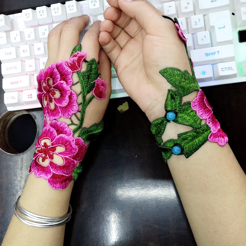 2019 Ethnic Wind Embroidery Flower Hollow Fingerless Gloves Fashion Joker Bracer Bracelet Dance Jewelry For Women 03