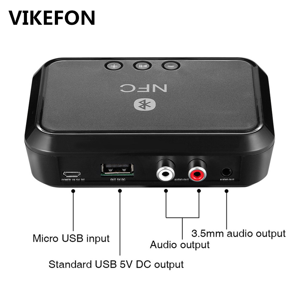 VIKEFON Bluetooth Receiver NFC/USB Disk Music Reading Stereo Wireless Adapter 3.5mm AUX/RCA Car Speaker Bluetooth Audio Receiver