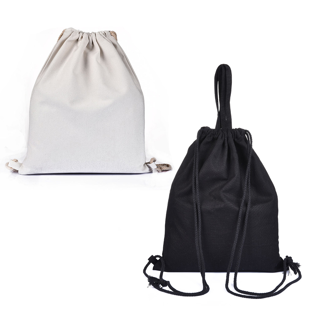 Bags For Girls Canvas Drawstring Beam Port Back Black White Travel Shoes Storage Bags Backpack
