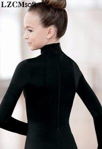 Image 4 - LZCMsoft léotides à manches longues à col haut pour femmes, Costumes de ballerine, en Spandex, pour danser le Ballet