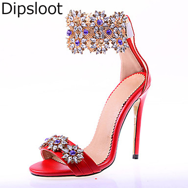 8a7a12e4802 Summer Sexy Glitter Multi Rhinestone Flower Studs Pedant Chains Stiletto  Heels Sandals Women Royal Crystal Decor Party Shoes