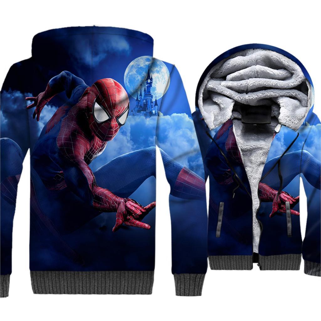 Super Hero Spiderman Printed Hip Hop 3D Hoodies Men 2019 Winter Warm Fleece Thick Jackets Men Sweatshirts Plus Size Streetwear