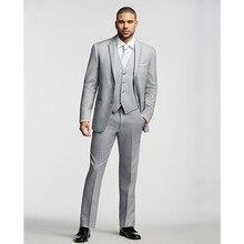 2017 mens new blazer for wedding tuxedo light gray men suit 3 piece custom made suits formal wear