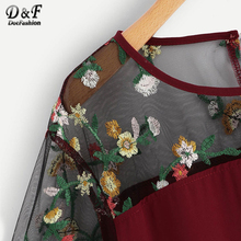 Mesh Floral Embroidered Blouse PU27