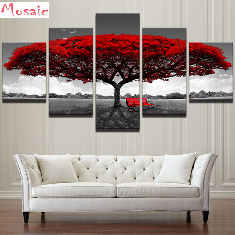 Diy Diamond Embroidery 5 Pieces Red Tree Art Scenery Landscape 5D Diamond Painting Cross Stitch New