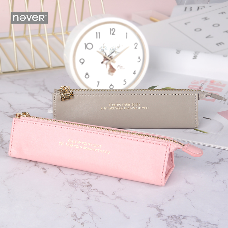 Never Pink Series Triangle Pencil Case Pu Leather Pen Bag Pencil Pouch Stationery Desk Organizer Office Accessories Gift Packing