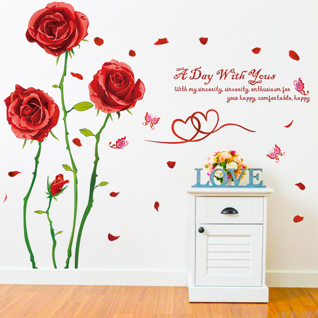 Beautiful Thorny Red Rose Butterfly Wall Stickers Love Quotes