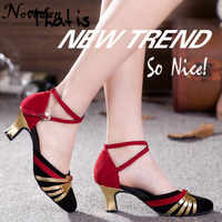 Women's Red Suede Sole Dance Shoes Closed Pointed Toe Latin Ballroom Salsa Dancing Shoes For Girls Closed Toe Latin Dance Shoes