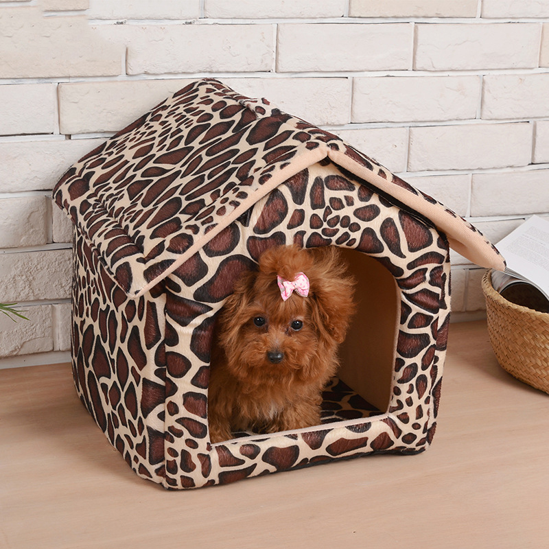 New Fashion Leopard Removable Cover Mat Dog House Warm Dog ...
