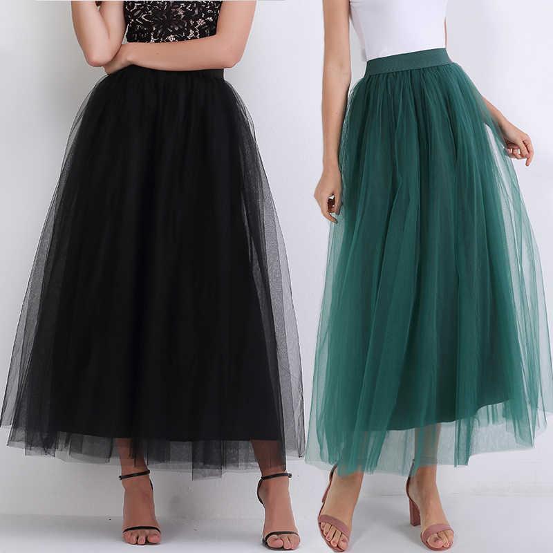 46f28f01b87 2019 черная женская длинная юбка из фатина пышная юбка с запахом летняя  миди плиссе пачка юбки