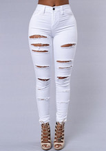 KL920 Fashion white high waist ripped jeans for women hole skinny black denim trousers pantalon femme
