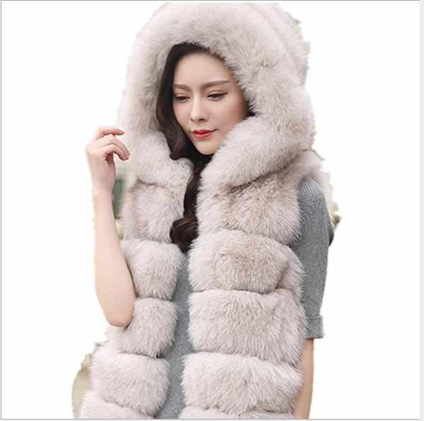 Роскошные искусственного меха норки жилет XXL Для женщин пальто зима 2018 манто femme hiver длинный жилет с капюшоном жилет из искусственного меха жилет FW132