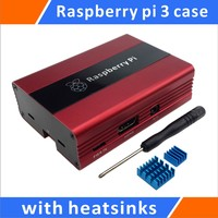 Raspberry Pi 3 Aluminum Case With Heatsinks Compatible With Raspberry 2 B Red