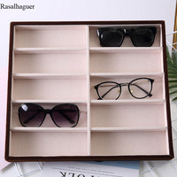 Beige Velvet 10Grids Sunglasses Display Box Sunglasses Display Jewelry Display Packaging Jewelry Organizer Tray Fashion Cases