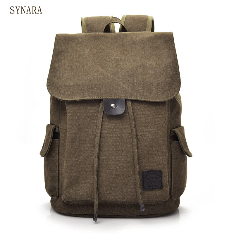 Senkey style Men Backpack Vintage Casual Canvas Backpack School Bags For Male Men's Large Backpacks For 14Inch Laptop Backpack retro style two front pockets laptop compartment vintage canvas solid color backpack