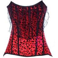 Kobiety Seksowna Bielizna Bielizna Czarne Koronki Dekoracji Czerwony Leopard Print Gothic Burlesque Gorset Top Gorset Bralet ForBody Kształtowanie