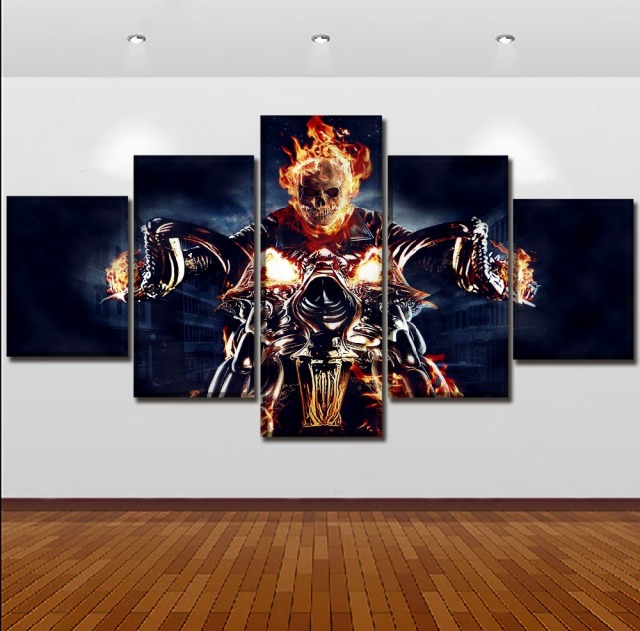 5 PANEL SKULL MOTORCYCLE WALL POSTER