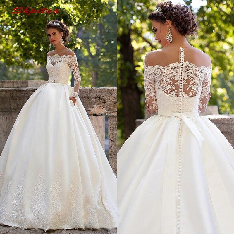 Long Sleeve Lace Wedding Dresses Ball