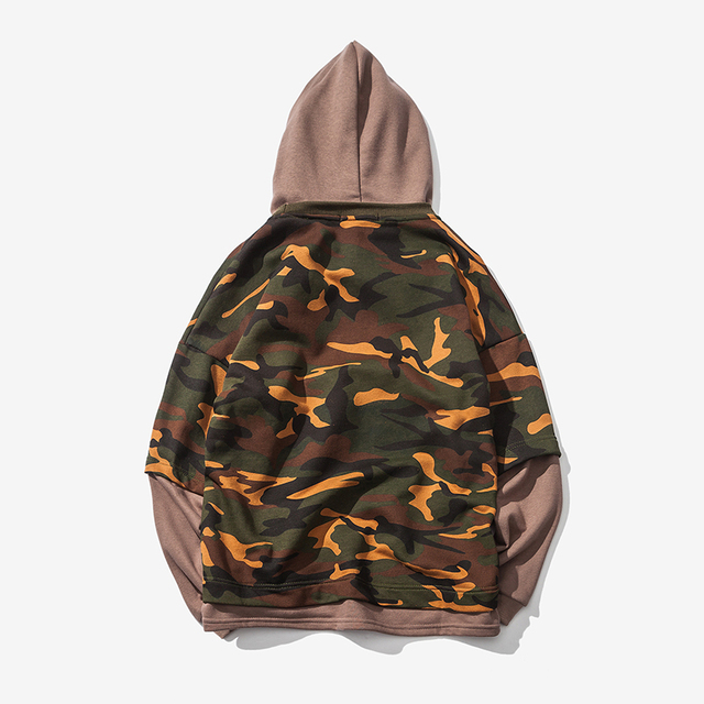 Spring New Arrival Men's Camouflage O-Neck Sweatshirt 2017 Fashion Faux Two Piece Hoodies With A Hood Casual Hip Hop Hoodies Men