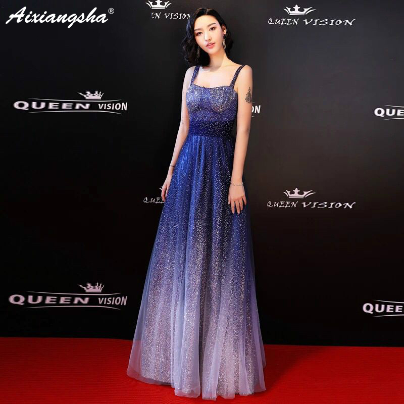 2018 New Fashion Shining Plus Size Celebrity Dresses Red Carpet Long Dress Elegant Contrast Color Cheap Party Dress Sereia 貓 帳篷